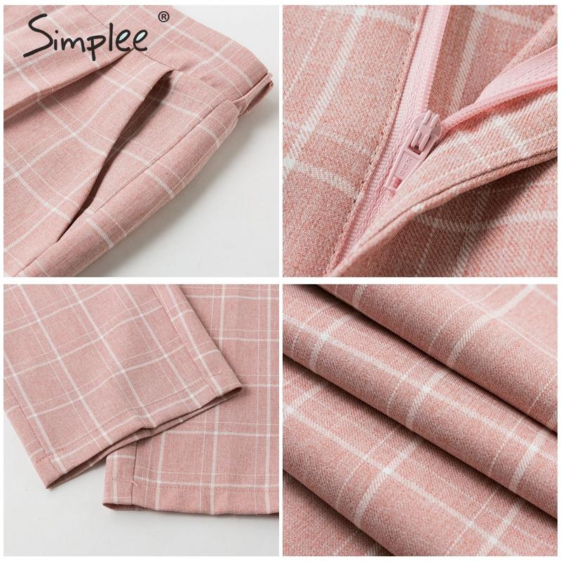 Ha272064e71af4a73b4391953a2944ab7L - Simplee Fashion plaid women blazer suits Long sleeve double breasted blazer pants set Pink office ladies two-piece blazer sets