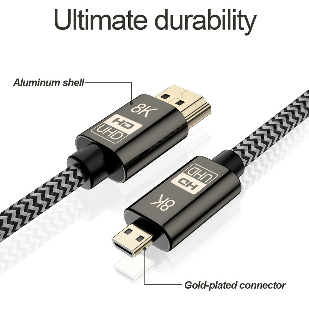 8K Micro HDMI-compatible 2.1 to HD-MI Male-Male video Gold Plated Cable HDCP UHD for SLR Camera Phone Tablet HDTV projector