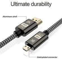 8K mikro HDMI uyumlu 2.1 ila HD-MI erkek-erkek video altın kaplama kablo HDCP UHD SLR kamera Tablet telefon HDTV projektör