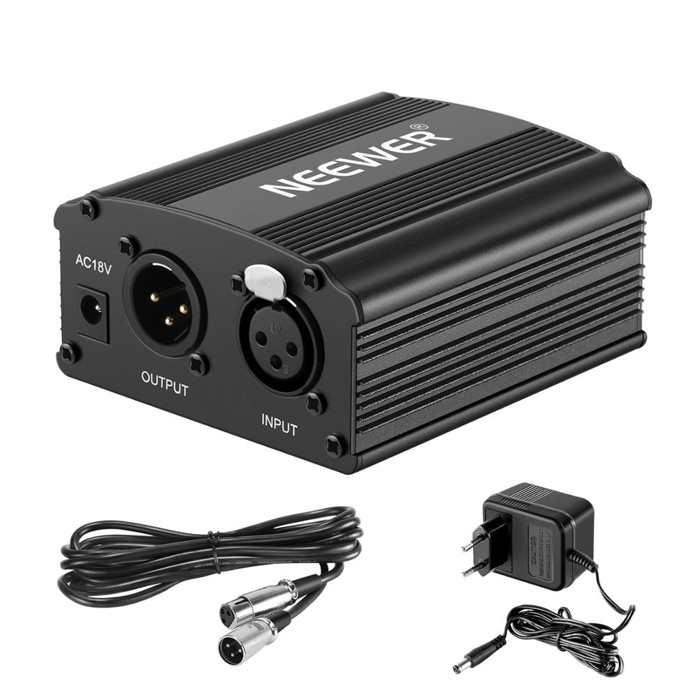 Neewer 1-Channel 48V Phantom Power Supply+Adapter+One XLR Audio Cable For Any Condenser Microphone Recording