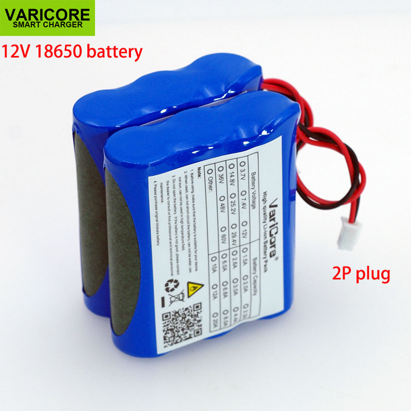 VariCore <font><b>12V</b></font> <font><b>18650</b></font> 2600mAh lithium-ion <font><b>Battery</b></font> <font><b>pack</b></font> Monitor CCTV Camera <font><b>battery</b></font> 12.6 V 2.6A <font><b>batteries</b></font> image