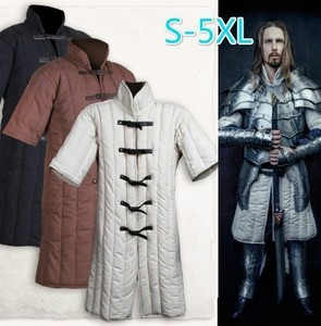 Renaissance Adult Men Medieval Larp Viking Costume Leopold Gambeson Canvas Suede Turtleneck Jacket Battle Hero Outfit Coat(China)