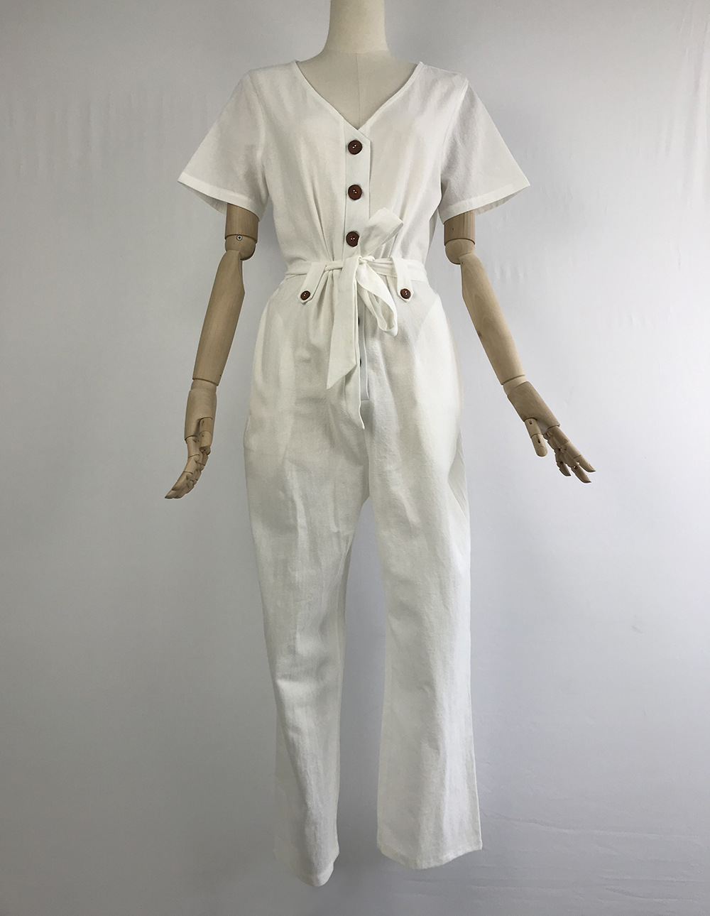 Vintage Women Bodysuit Sash Belt Button Single Breasted V Neck Rompers