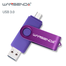 WANSENDA Usb 3.0 USB 플래시 드라이브 고속 OTG 펜 드라이브 16 기가 바이트 32 기가 바이트 64 기가 바이트 128 기가 바이트 256 기가 바이트 Pendrive 2 1 마이크로 USB 스틱 듀얼 USB