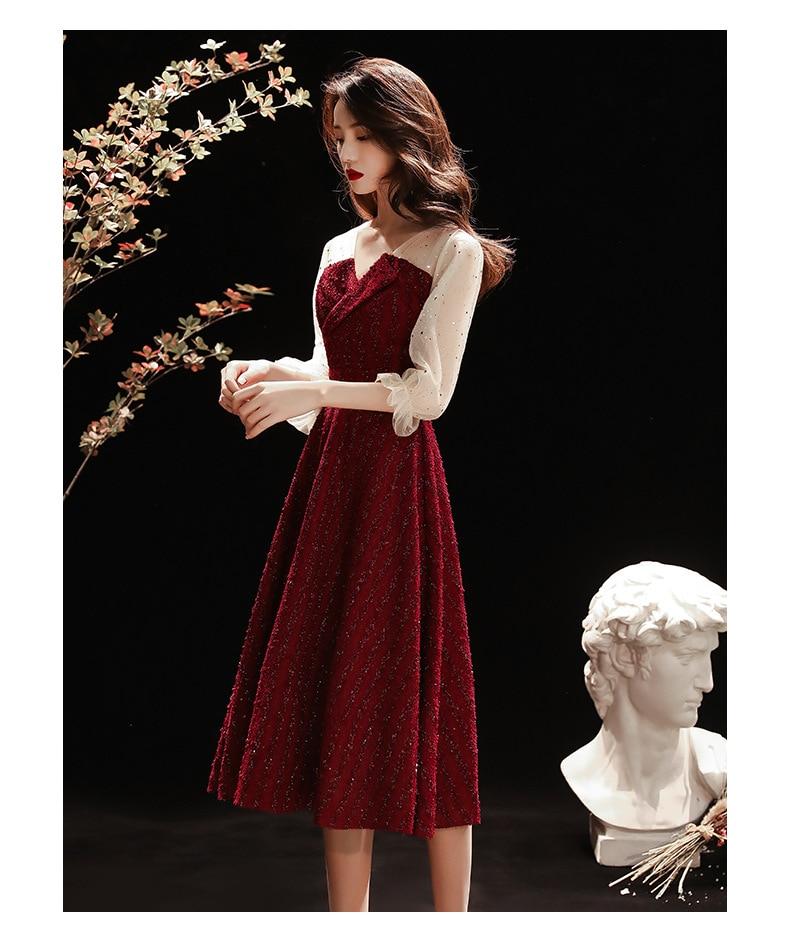Burgundy New Women's Elegant Evening Dress YN-1918 V-neck Half-sleeve Tulle Lace Skirt Below The Knee Formal Evening Dress 2020