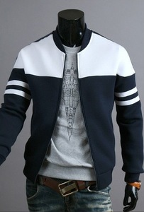 Fashion men's ribbon decoration stitching set casual new men's spring and autumn men's jacket