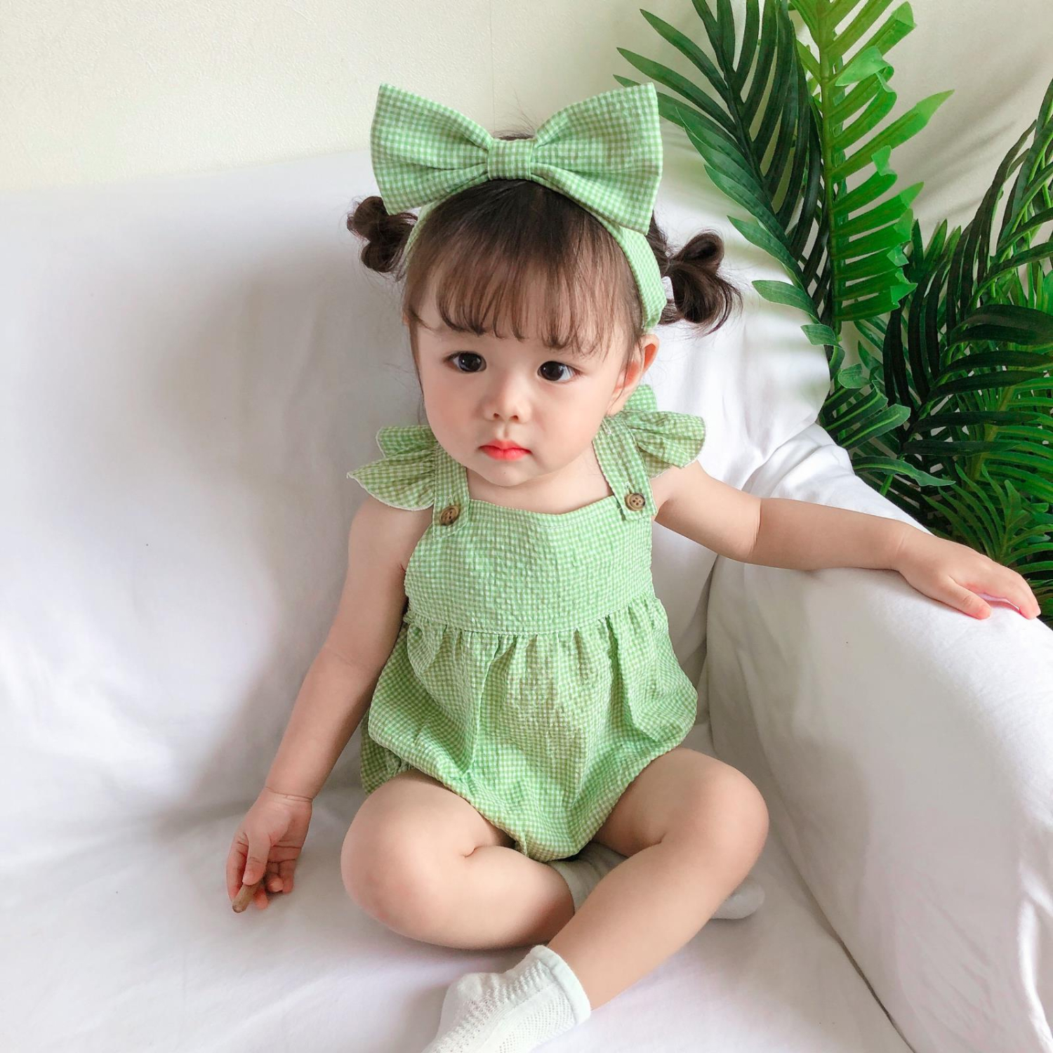 2pcs/Set Summer Newborn Baby Clothes Plaid Cotton Ruffle Sleeveless Infant Romper New Toddler Outfits Sunsuit Girl With Headband