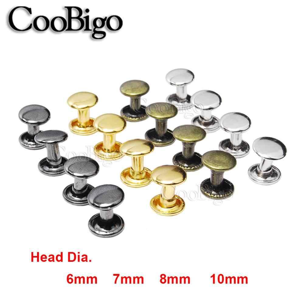 10Set Brass Double Cap Round Rivets Rapid Studs Leather Craft Garment Shoe Decor