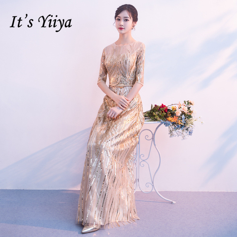 It Yiiya Evening Dress Long Tulle Sqeuin Plus Size Formal Dresses Elegant O-Neck Half Sleeve Gold Women Formal Party Gowns K156