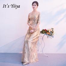 Женское вечернее платье it yiiya золотистое длинное с круглым