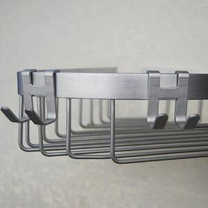 Image 4 - スペースアルミニウム金属ドアフックラック送料ネイルウォールフックキーホルダータオルハンガー服棚バスルームオーガナイザー