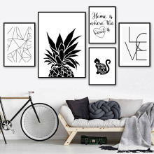 Pineapple Canvas Print Love Quotes Posters And Prints Minimalist Wall Art Painting Black White Poster Wall Pictures Home Decor