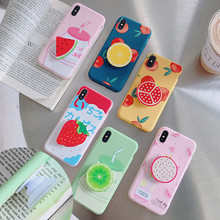Cute 3D Fruit Holder Case for Iphone XR X XS Max 10 Luxury Candy Colors Soft TPU Phone Cover 6 6S 7 8 Plus Coque