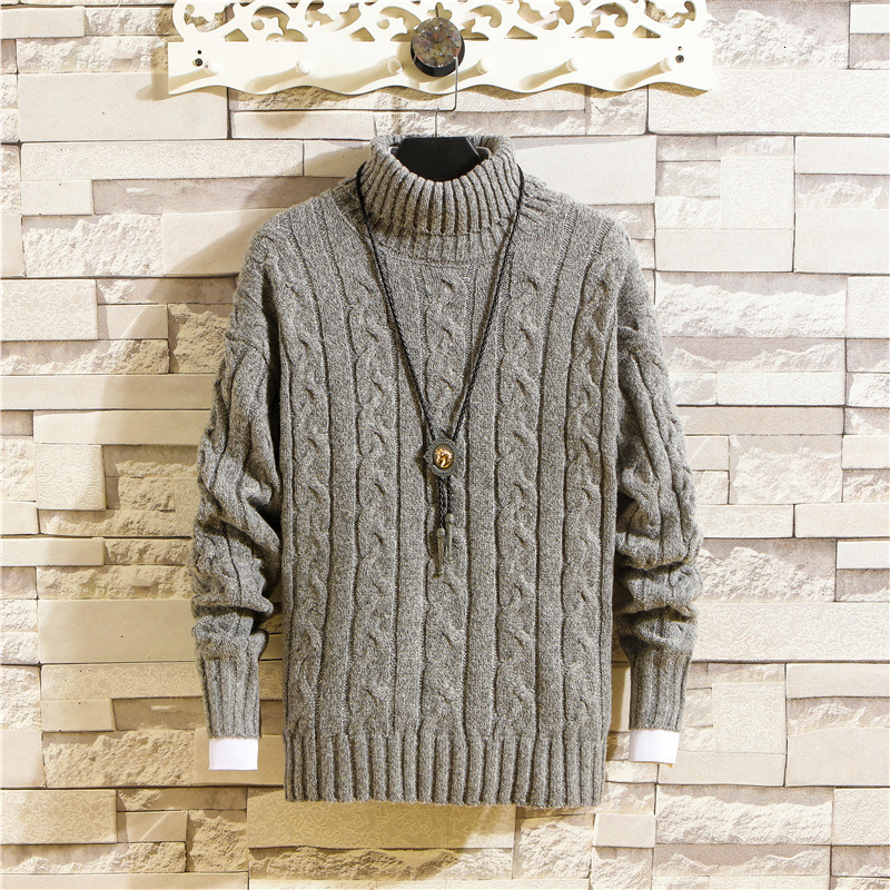 Winter Turtleneck Sweater Men's Slim Warm Fashion Solid Color Knit Pullover Men Wild Knitting Sweaters Male Sweter Clothes M-3XL