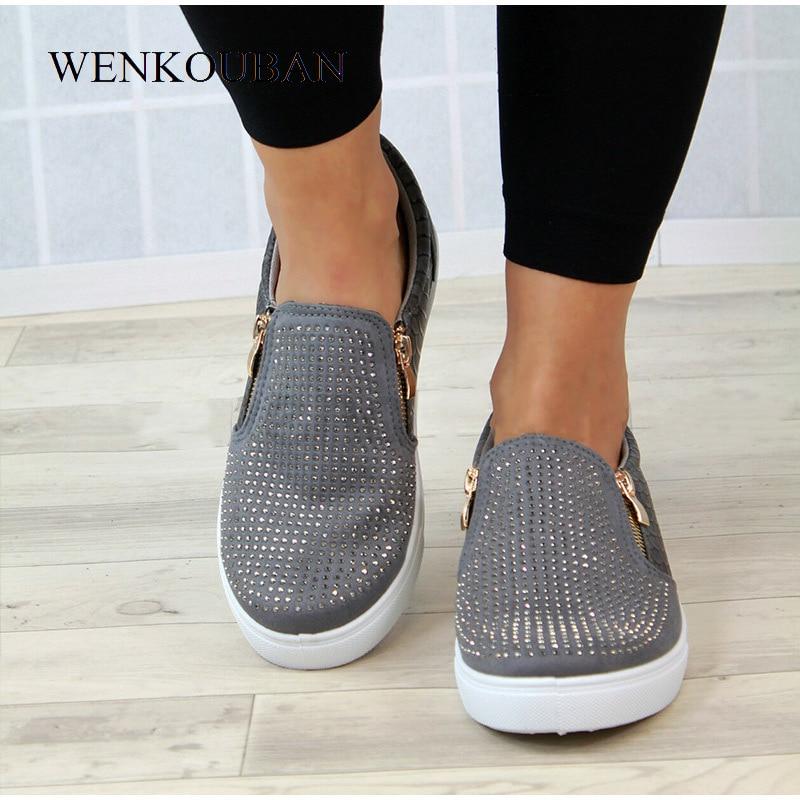 Image 5 - Platform Shoes Women Crystal Slip On Flat Loafers Female Wedge Shoes For Women Mocassin Zipper Glitter Flats Sapato FemininoWomens Flats   -