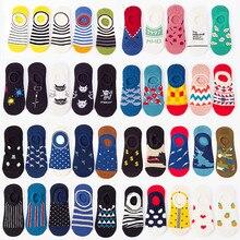 Носки-невидимки хлопковые унисекс, силиконовые Нескользящие тапочки с забавными фруктами, животными, для отдыха, весна-лето