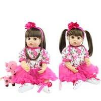 55cm de silicona muñeco Reborn de juguete con pendiente chica Boneca de los bebés recién nacidos princesa vestido de Bebe regalo de cumpleaños