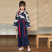 Kids Kimono Costume Yukata Asian Clothes Crane Oriental-Top-Pants Haori Samurai Girl