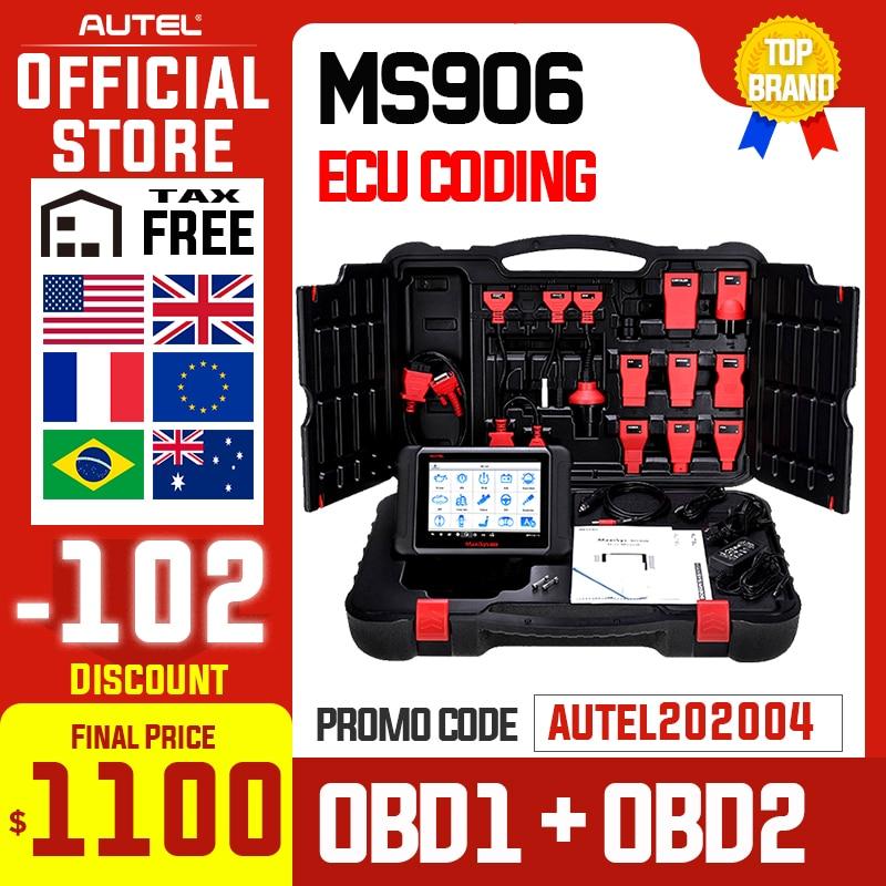 AUTEL MaxiSys MS906 Auto herramienta de diagnóstico OBD2 escáner de codificación de clave automotriz OBD 2 ECU probador programador clave PK MS906BT MS906TS