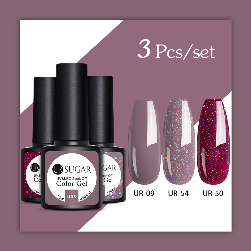 UR SUGAR 2/3 Pcs Glitter Gel Nail Polish Set Pink Sequins Color Semi Permanent Led Gel Varnish Soak Off UV Gel Varnish Nails