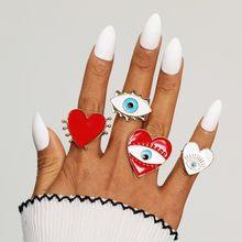 IPARAM nowa moda regulowane serce oko kobiece pierścień Boho Retro geometria złe oko miłość geometria palec pierścień biżuteria