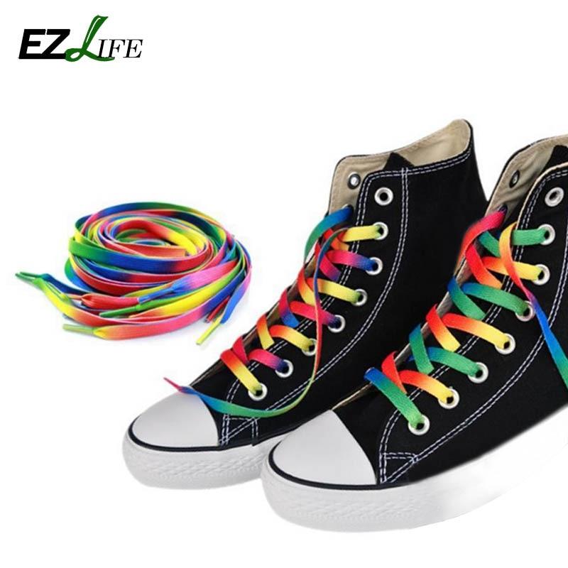 1Pair 120cm Multi-Colors Rainbow Shoelaces Flat Canvas Sports Shoelaces Strings Strap For Sneakers Unisex Rainbow Shoelace