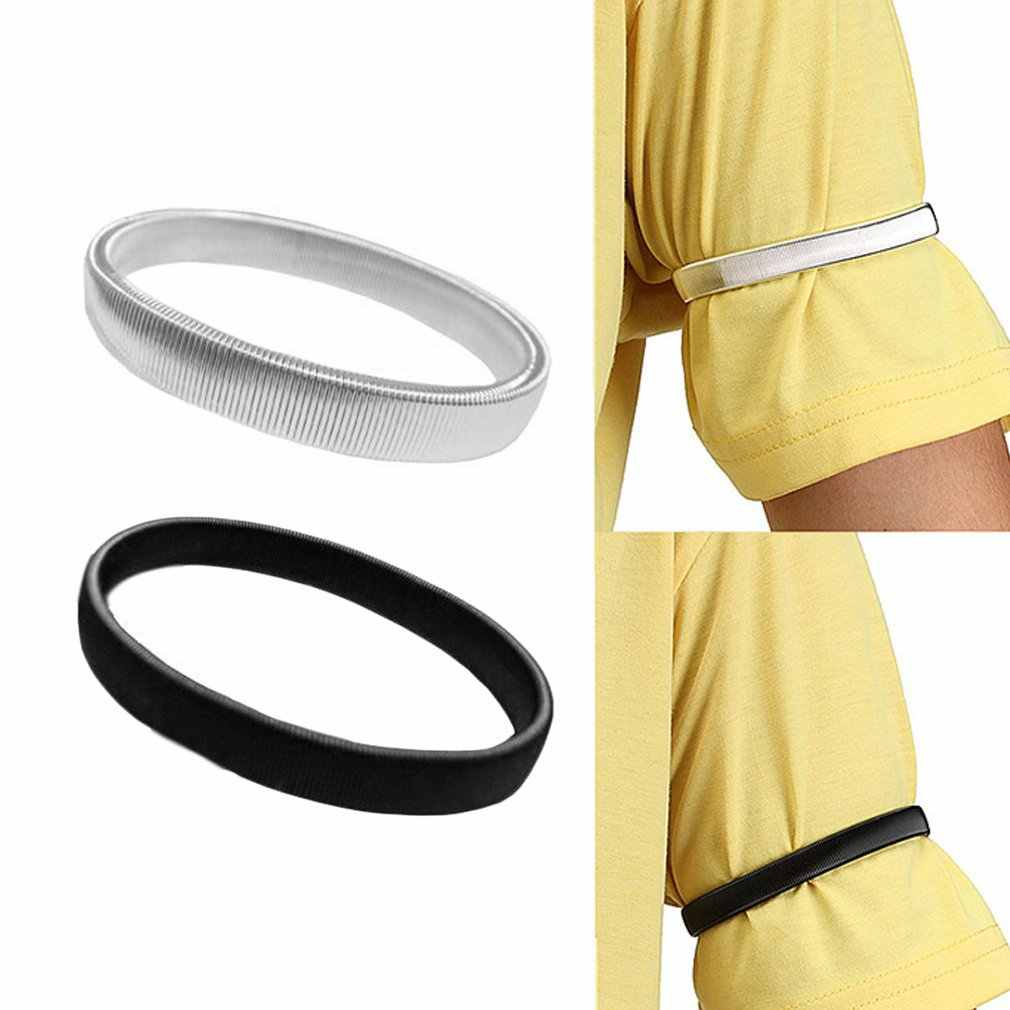 1Pc hombres camiseta manga titular Casual elástico brazalete Anti-slip brazalete de metal elástico boda Liga estirar brazalete Accesorios