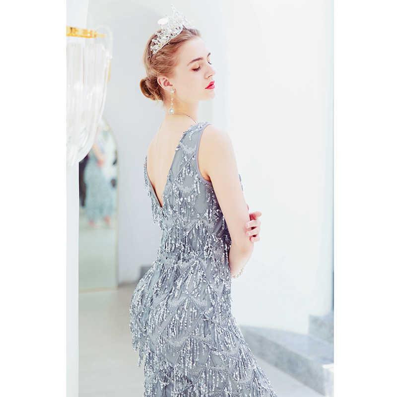 Вечерние платья с блестками, серое вечернее платье с бахромой, вечернее платье с кристаллами, платье русалки, женское платье для вечеринки, Vestidos De Fiesta