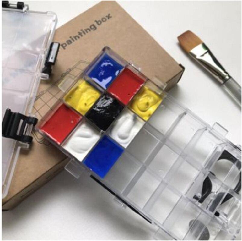 24 grid Palette moisturizing paint box watercolor gouache oil painting acrylic sub-packing paint box