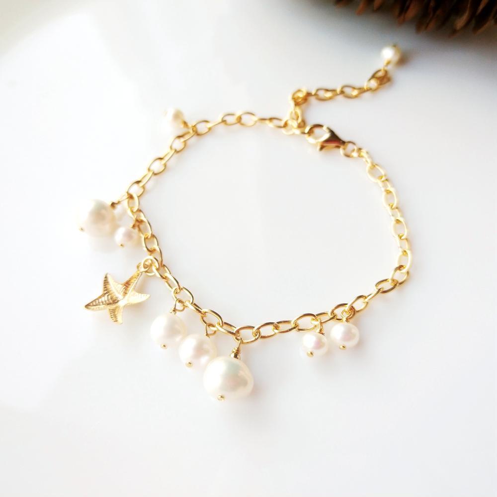 Lii Ji perle d'eau douce blanc perle chaîne Bracelet US 14K GF étoile breloque 925 en argent Sterling 18K or couleur chaîne Bracelet