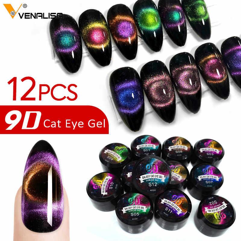 12 Warna Venalisa Terbaru Nail Art Produk 5 Ml LED UV Kuku Seni Uv Gel Cat 9D Kucing Mata Gel cat Kuku Enamel Varnish Lacquer