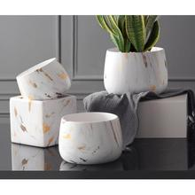 European Style Marble Pattern Ceramics Flower Pots Ceramic Vase Dry Flower Creative Simple Decoration Household Ornament Bottles
