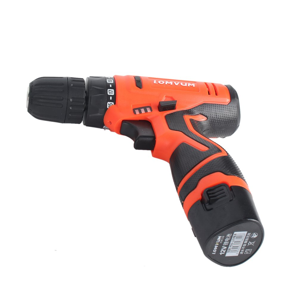 LOMVUM 12V Double Speed Electric Drill Rechargeable Mini Cordless Handheld Screwdriver Drill