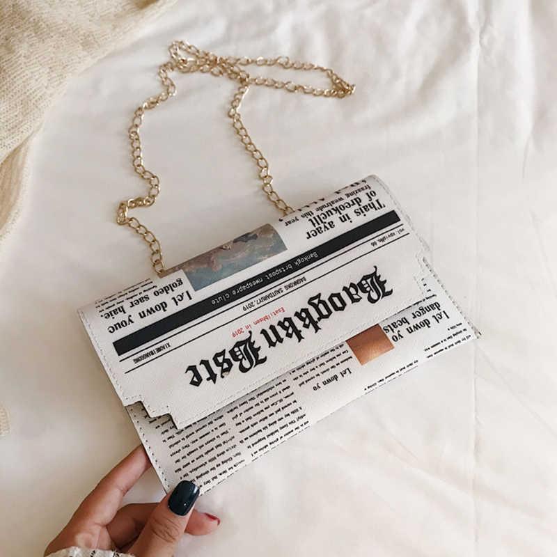 PU deri kadın omuzdan askili çanta zincir çanta omuzdan askili çanta ana kesesi postacı çantası moda haber kağıt tasarım paketi telefonu çanta
