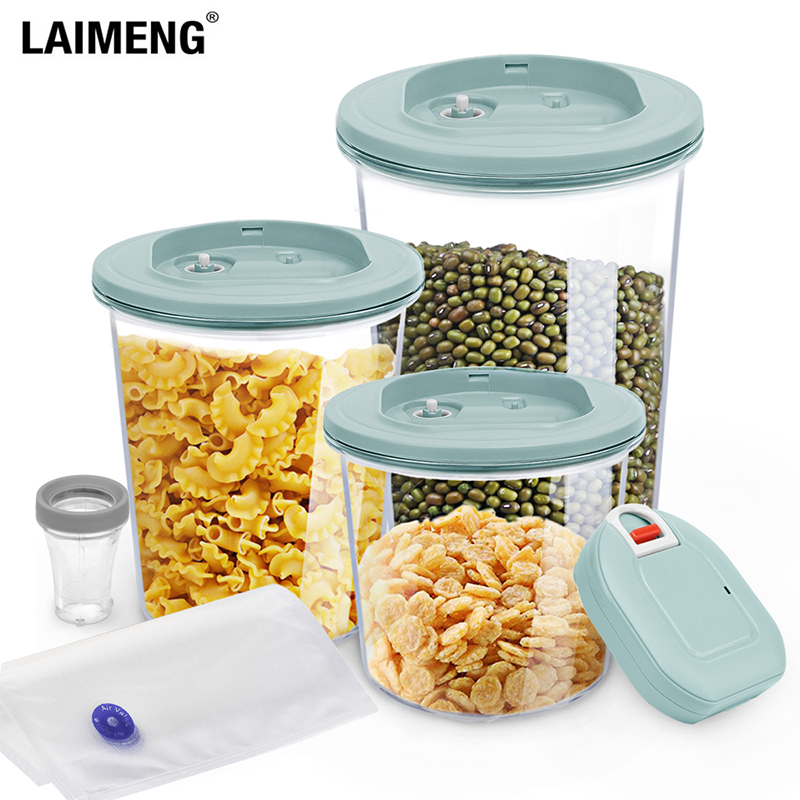 LAIMENG Automatic Vacuum Seal Food Storage Containers Set Airtight Vacuum Containers With Vacuum Pump Unit And Valve Bags S271
