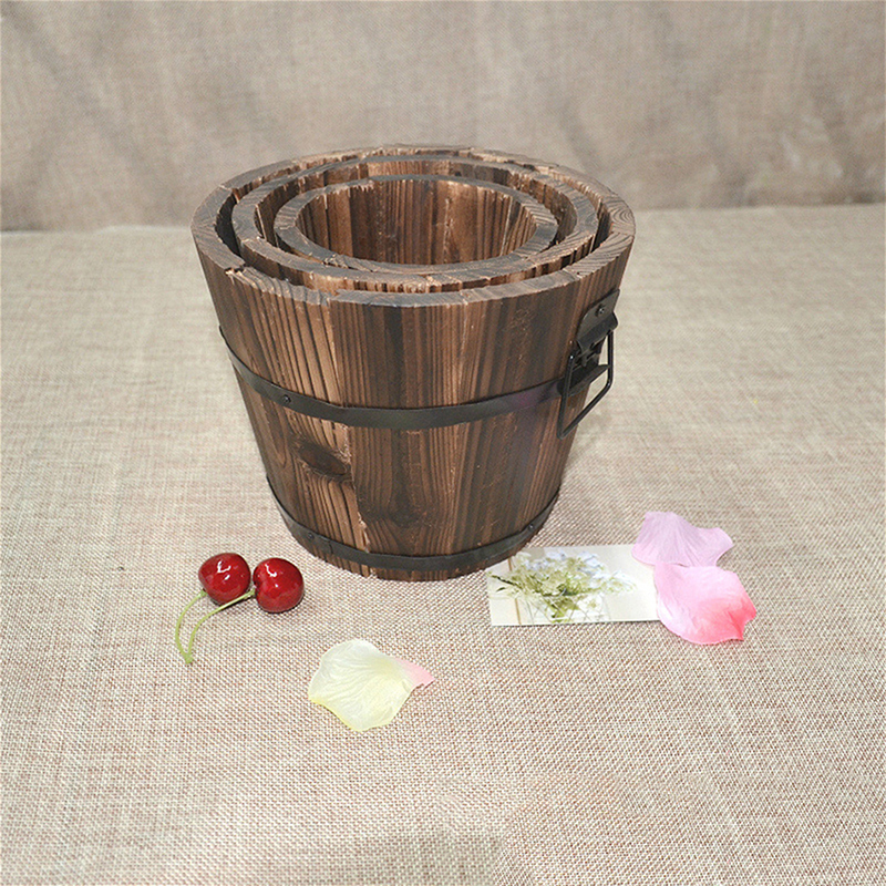 Multi-functional Carbonized Wood Small Wooden Barrel Pot Multi-meat Wood Flower Anti-corrosion Shooting Flower Pot Props V1O4