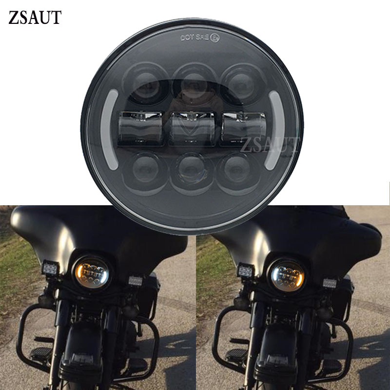 """5 3/4"""" 45W Motorcycle Refit Round LED Headlight for Indian Scout 5.75 Inch Led Headlight With Left Right Amber Turn Signal DRL"""