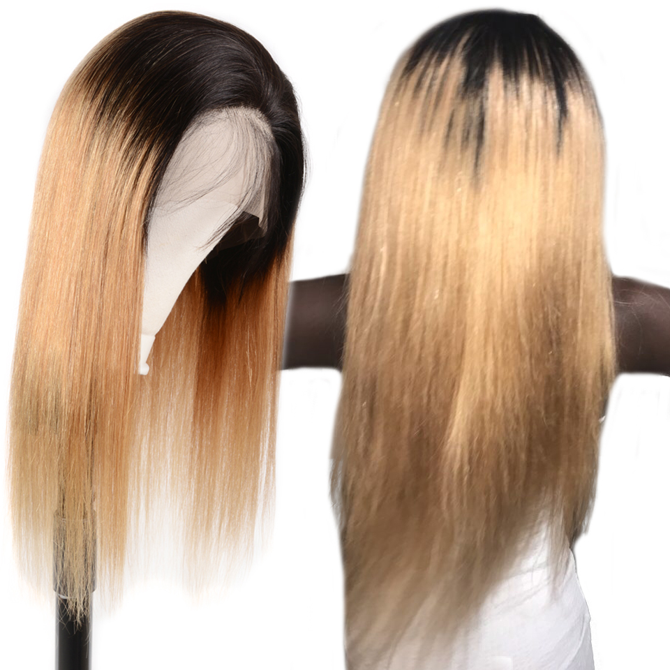 Highlights 13x4 Brazilian Straight Remy Hair Lace Wigs Pre Plucked Ombre Long Straight Lace Front Human