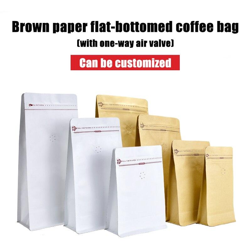 High Quality10pcs/lot  100g 250g 500g 1kg Plain Stock Flat Bottom Brown Kraft Paper Coffee Bean Bags With Valve And Ziplock