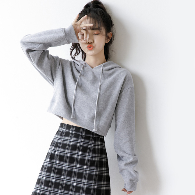 Ms. Sweatshirts Autumn Hooded Long Sleeve Hooded Pullovers Casual Drawstring Hoodie Pullovers Short Crop Top with Long Sleeves 5
