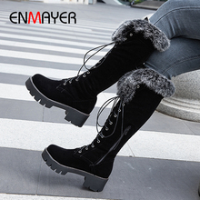 ENMAYER Fur Velvet Square Heel Cross-tied Over The Knee High Boots Round Toe Winter Thigh High Shoes Solid Fretwork Heels Boots недорого
