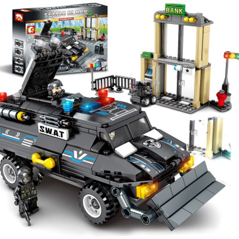 102407 special police rescue vehicles small particles black hawk command military assembled blocks yi intellectual toys