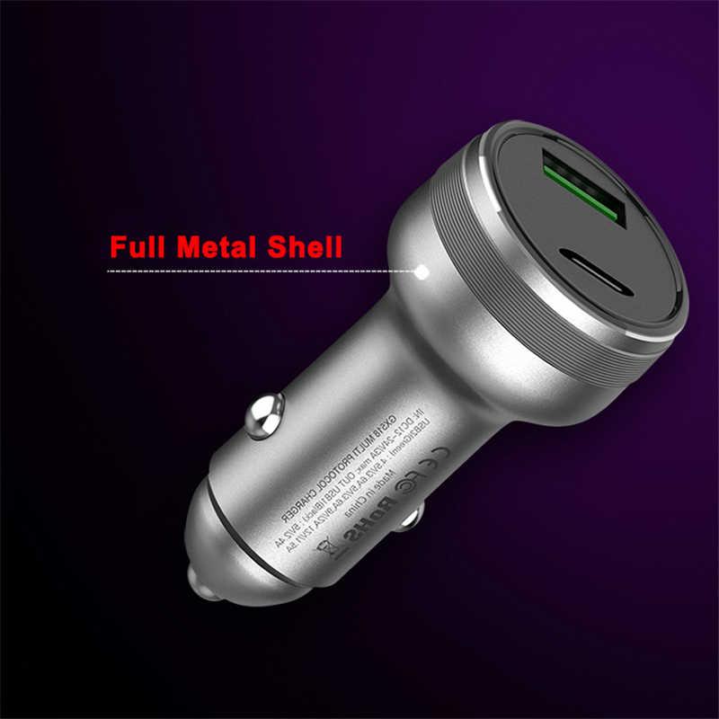 36 Вт алюминиевый сплав PD + QC3.0 FSP быстрая зарядка автомобильное зарядное устройство для iPhone 11 Pro MAX XR XS MAX 8 Plus SAMSUNG Note 10 + S10 S9 S8 +