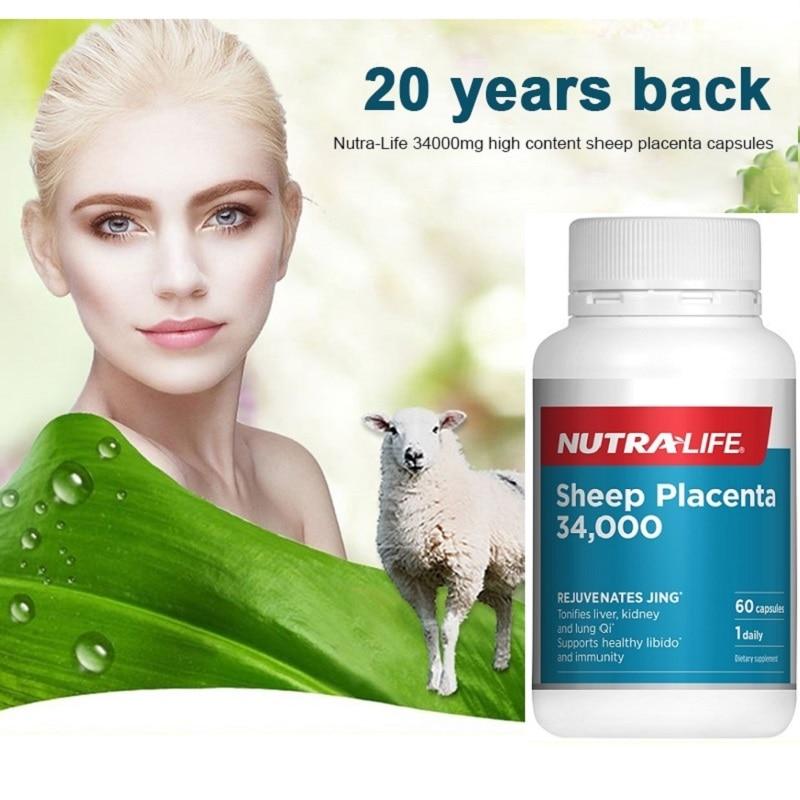 34000mg Sheep Placenta Capsules Nutra Life Women Beauty Health Supplement Vitality Anti Aging Rejuvenate Jing Immunity Libido Sets  - AliExpress