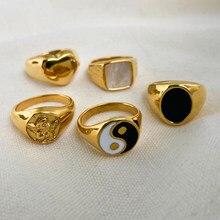 Banhado a ouro 316l aço inoxidável concha anéis para as mulheres forma do coração yin yang chunky dedo anéis à prova dwaterproof água jóias