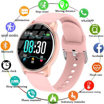 Kobiety inteligentny zegarek w czasie rzeczywistym prognoza pogody śledzenie aktywności Monitor pracy serca sportowe damskie inteligentny zegarek mężczyźni dla Android IOS tanie i dobre opinie CN (pochodzenie) Z systemem Android Wear Na nadgarstek Zgodna ze wszystkimi 128 MB Krokomierz Rejestrator aktywności fizycznej