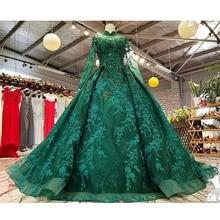 BGW 22025ht vestido de fiesta de cuello alto verde Real de manga larga de tul de encaje hacia atrás vestido de bola belleza vestido de noche para las mujeres precio Real