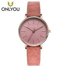 ONLYOU Fashion Women Casual Quartz Watch leather strap Girls Elegant Ultra Thin Clock 85019