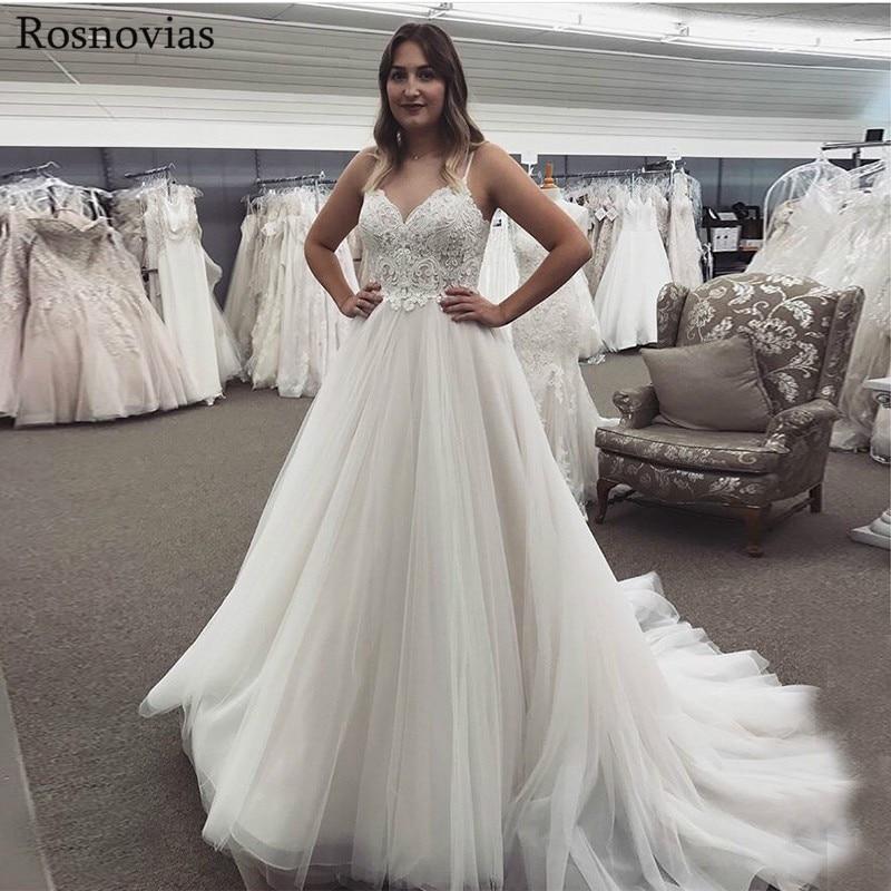 Elegant Wedding Dresses 2019 Spaghetti Strap Backless Lace Top Sweep Train Modest A Line Tulle Bridal Gowns Vestido De Novia