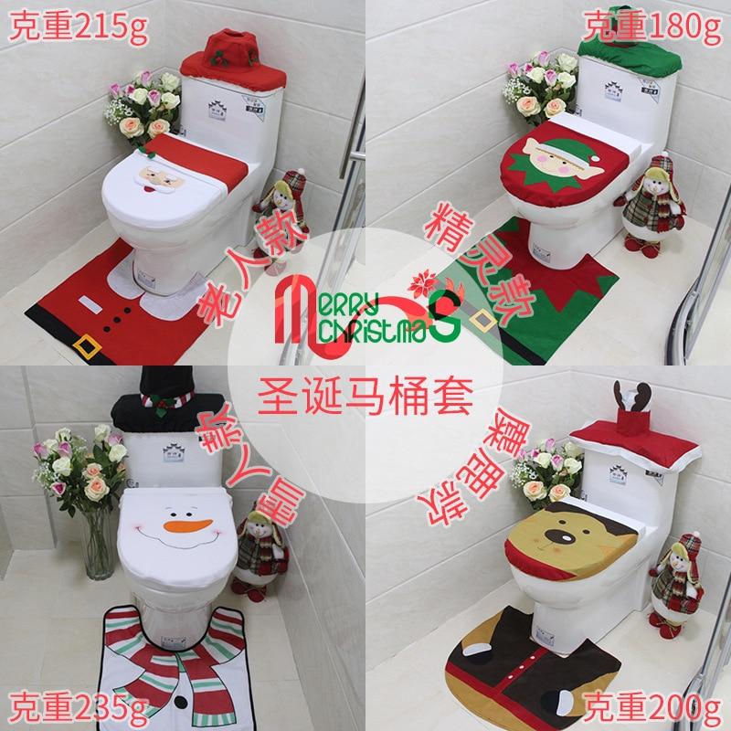 3 pcs Toilet lid Santa Claus 2019 New Year Xmas navidad kerst Water Tank Cover for DIY Christmas Home Bathroom Decorations